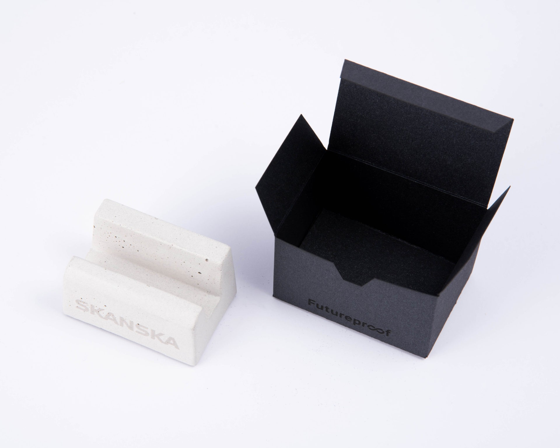 Business card holder with logo and custom made packaging as corporate gift for Skanska