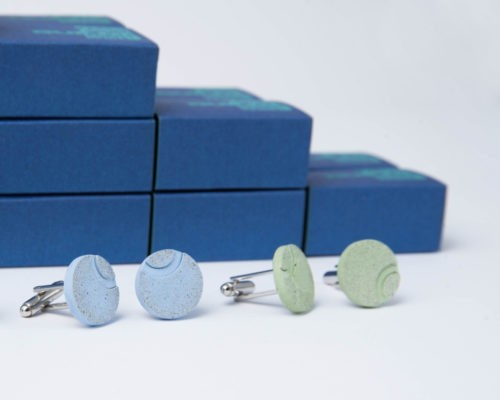 colored concrete cufflinks as corporate gifts for MC-Bauchemie