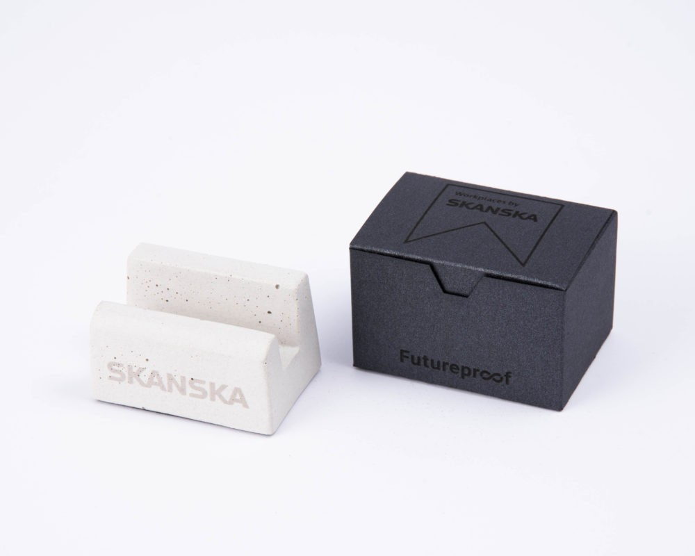 Personalized concrete corporate gift for Skanska