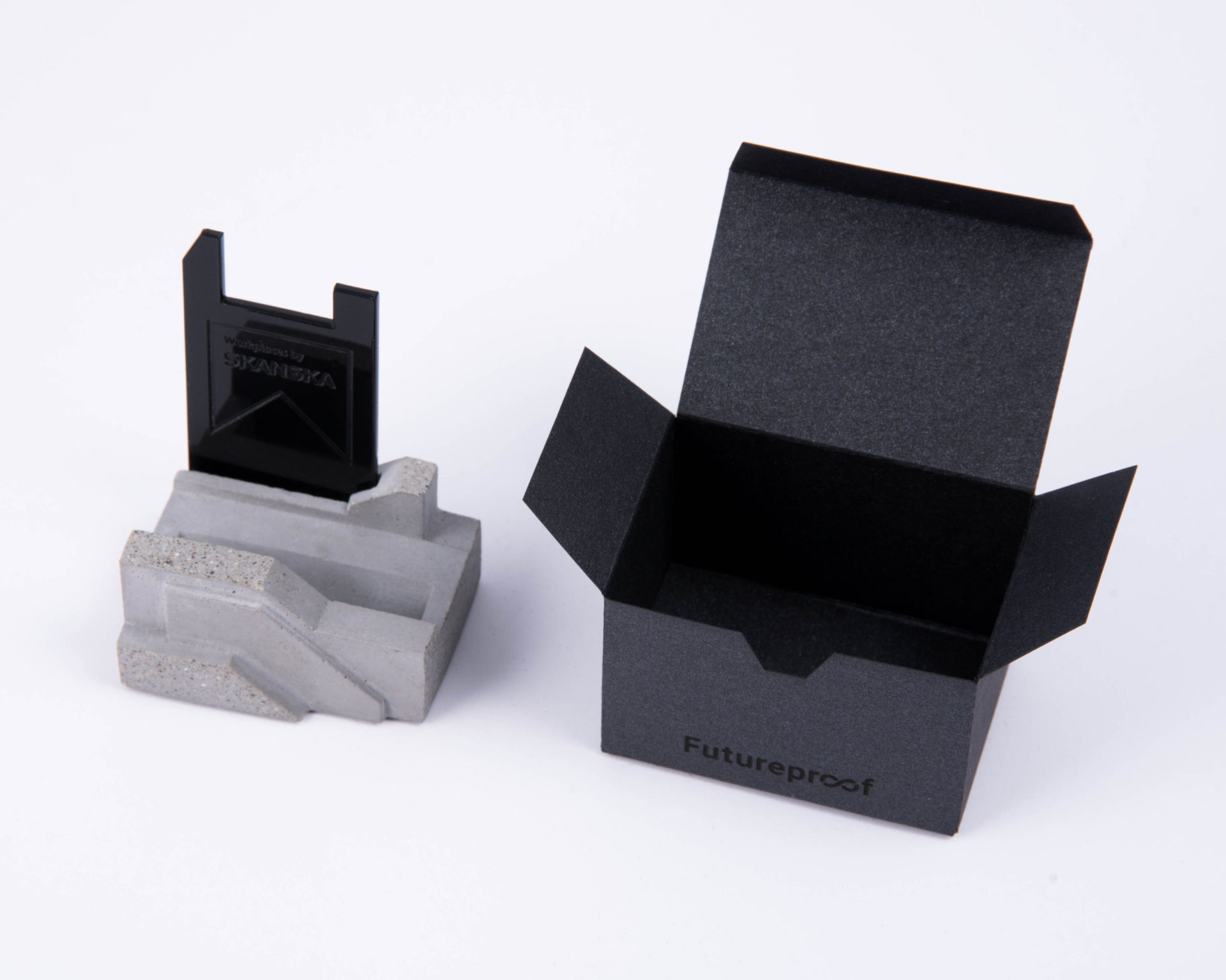 Branded concrete corporate gift customized for Skanska
