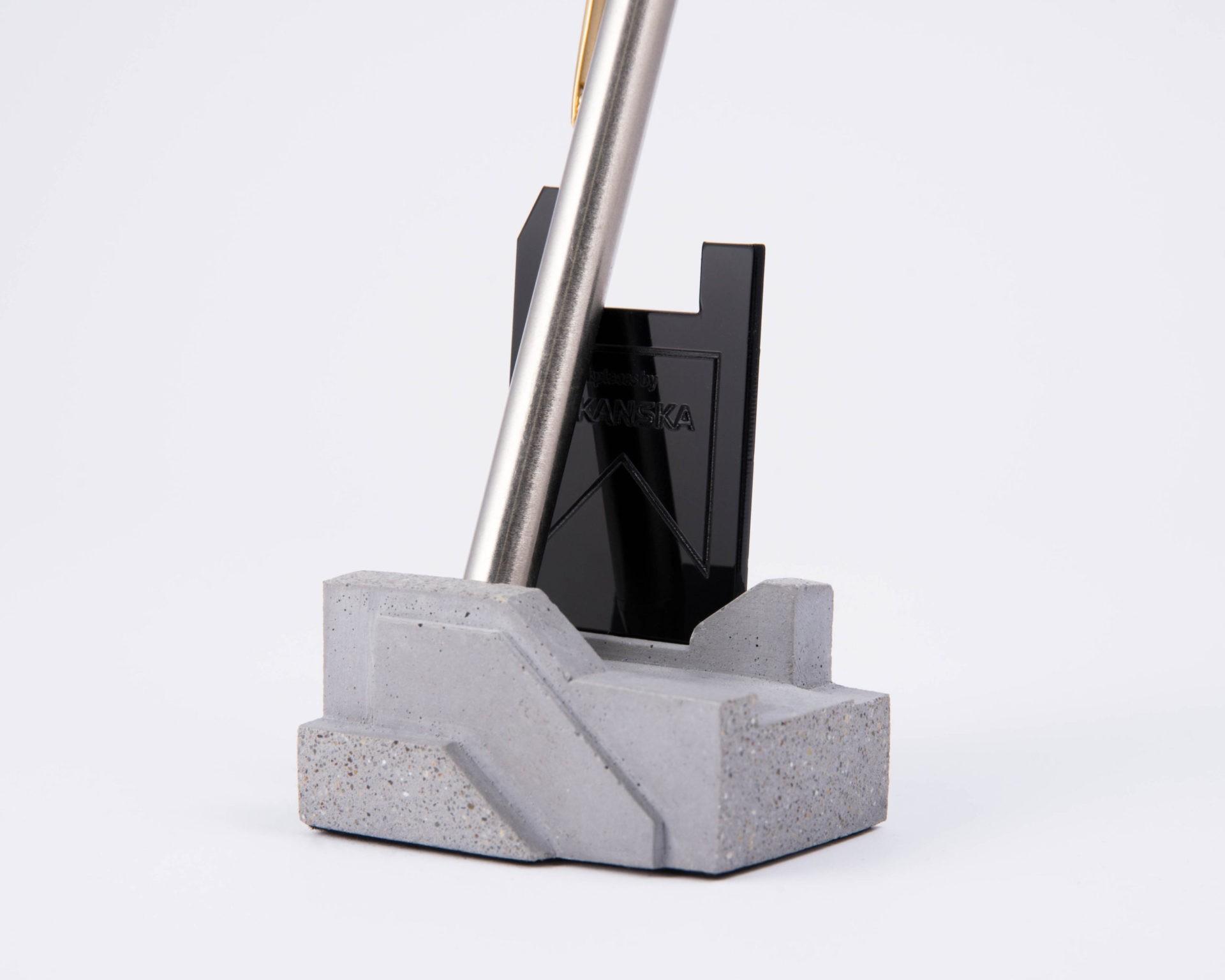 Terrazzo concrete pen holder as corporate gift for Skanska