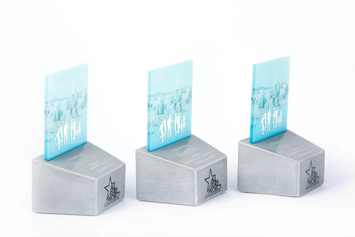 Custom concrete trophy award for event supporters