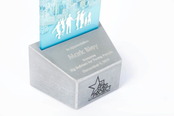 Custom concrete trophy design for builders