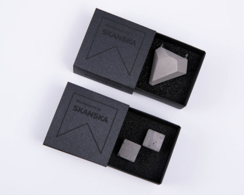 Exclusive concrete jewels for business clients with elegant cardboard giftbox branded for Skanska