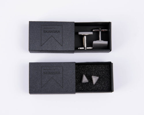 Exclusive designer concrete jewels as corporate gifts with customized giftbox for Skanska
