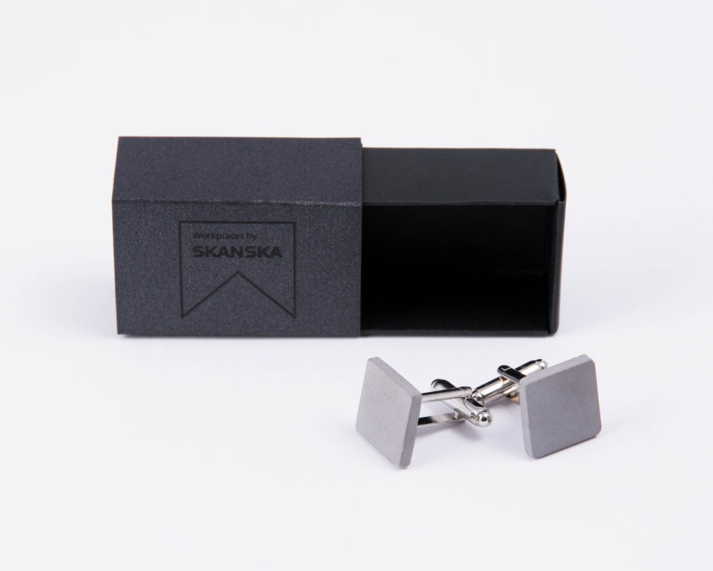 Exclusive designer cufflinks as corporate gift made of concrete