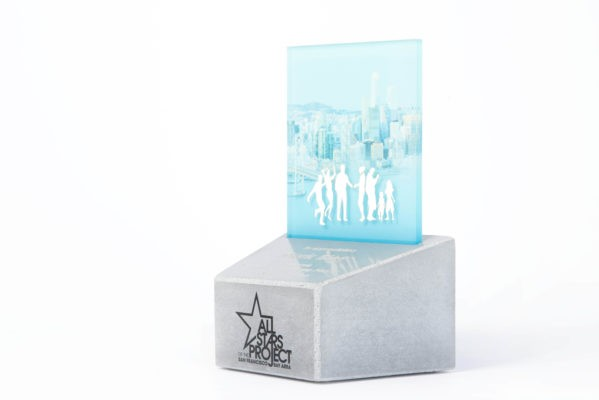 Unique trophy design made of concrete and UV printed acrylic glass