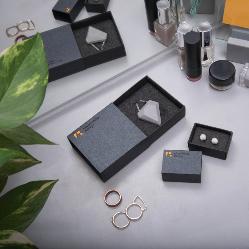 Luxury designer concrete jewelry with elegant giftbox