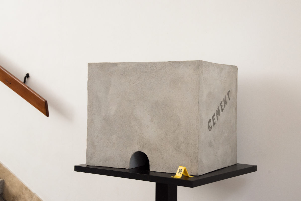 Unique concrete design object for Catcity event exhibition at Pannonia filmstudio