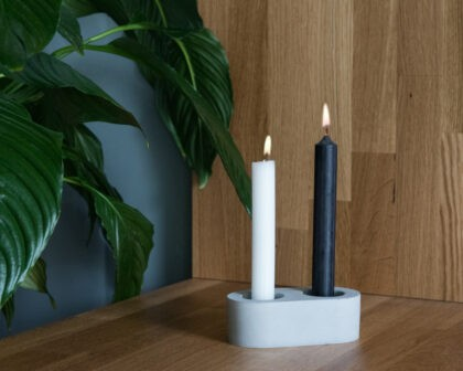 Concrete design object for duble candles or tealights
